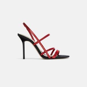 Zara Red Faux Snakeskin Strappy Sandal Heels